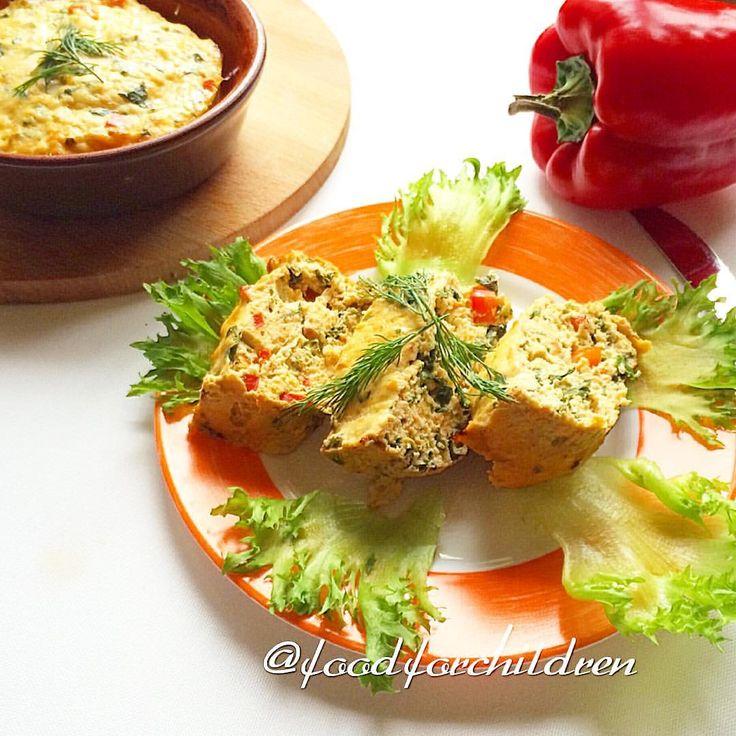 Куриное суфле со шпинатом и болгарским перцем