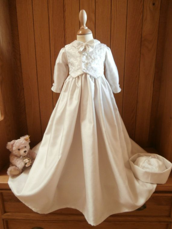 Christening Baptism Gown with matching hat for by FirstBlessings, £79.99