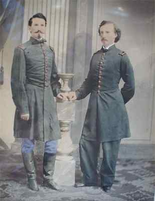 Reportedly one of the rarest Civil War images of young George Armstrong Custer attributed to skilled photographer, Henry Ulke, taken at the end of April 1863 in the Ulke Washington D.C. studio. This large hand water colored tinted imperial sized Salt print shows Custer with his close friend from West Point, Captain Leroy Elbert. Outstanding!  *s*