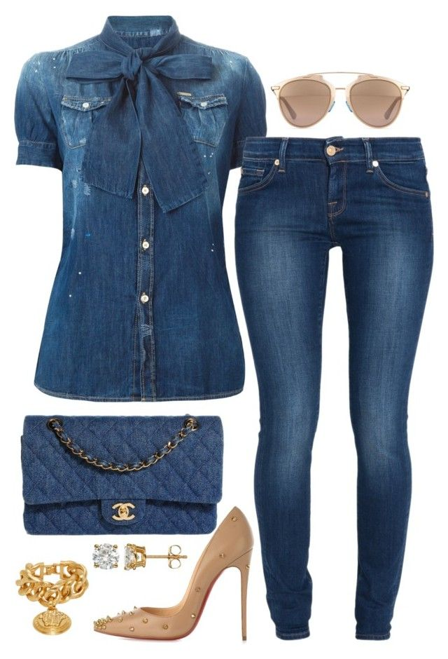 Denim on Denim by fashionkill21 on Polyvore featuring polyvore fashion style Dsquared2 7 For All Mankind Christian Louboutin Chanel Versace Christian Dior clothing