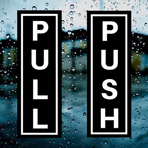 "PUSH (x2) & PULL (x2) Indoor/Outdoor Vertical Door 1.75"" x 5"" Sticker/Decal for Business, Shops, Stores, Cafes & More - Industrial Strength Self Adhesive Back Vinyl Sticker  SMOOTH APPLICATION - The Novosta Push Pull Vinyl Decal Stickers are printed on special air-release vinyl to ensure the smoothest application. No bubbles, ripples or cracks due to our premium high quality vinyl.  SURFACE FRIENDLY - Our Push Pull Vinyl Decal Stickers stick to any clean, smooth surface and removes cle..."