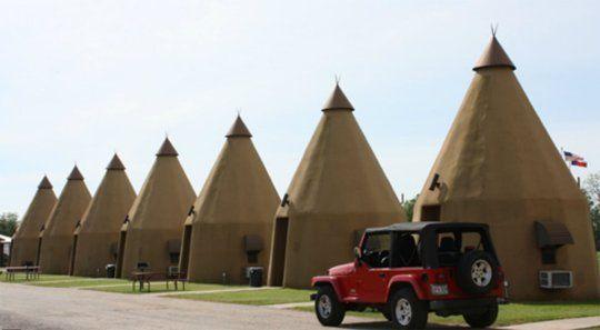 10 Unique Texas Hotels | The Teepee Motel, Wharton, Texas [[ Nice Jeep! ]]