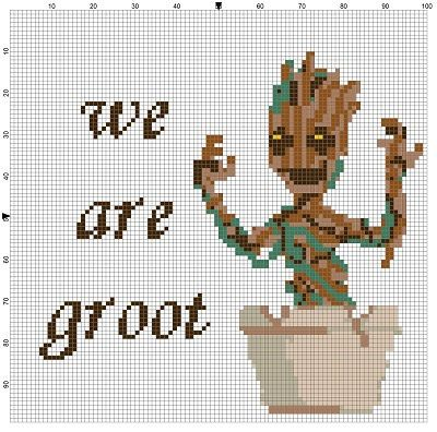 We Are Groot  Guardians of the Galaxy Cross Stitch Pattern. This is the best one of these I have seen.