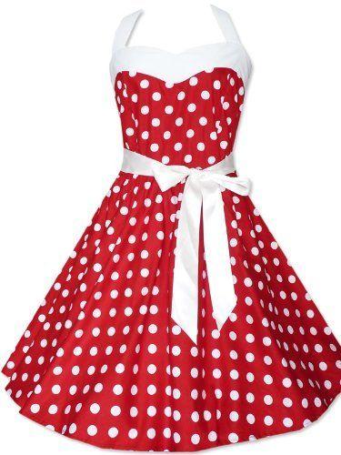 Zarlena Robe style Rockabilly (année 50) Rouge à pois blancs , Rouge , Rouge
