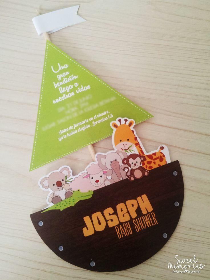 #Invitación para #BabyShower de niño con el tema del Arca de Noe.