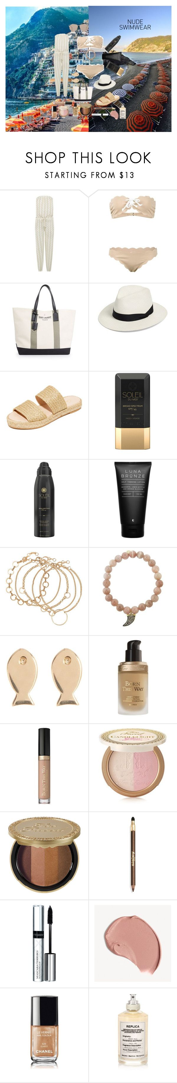 """Italian Odyssey"" by atho-12345 on Polyvore featuring Melissa Odabash, Marysia Swim, Yves Saint Laurent, rag & bone, Carmelinas, Soleil Toujours, Luna Bronze, Sydney Evan, Candela and Too Faced Cosmetics"