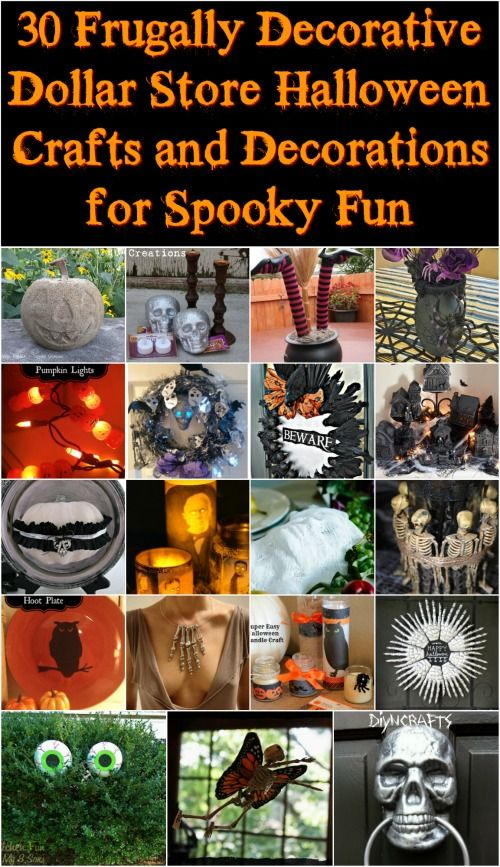 30 Frugally Decorative Dollar Store Halloween Crafts and Decorations for Spooky Fun {With tutorial links} Trying to spruce up your home with some Halloween fright? Seriously, it is amazing how many awesome spooky crafts you can make yourself with just a few simple, cheap supplies from the dollar store. Check out these 30 projects for thrifty Halloween fun—most of these are easy enough that you can make them with your kids. #diy #dollarstore #halloween #decorations…