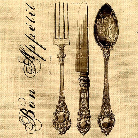 Imagem digital de Paris colher Printable Bon Appetit faca garfo coisas efêmeras do vintage para guardanapos de tecido de transferência de ferro toalha de chá bolsa travesseiro N221
