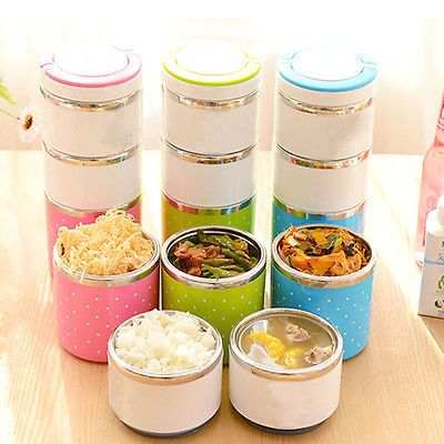 NEW 1-3 Layer Stainless Steel Insulation Thermo Thermal Lunch Box Food Container