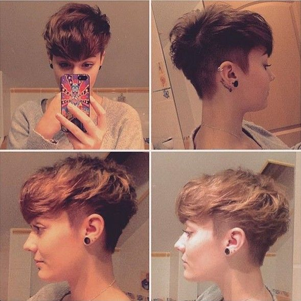 30 Stylish Short Hairstyles: Curly, Wavy, Straight Hair: #7. Messy, Shaved Short Haircut