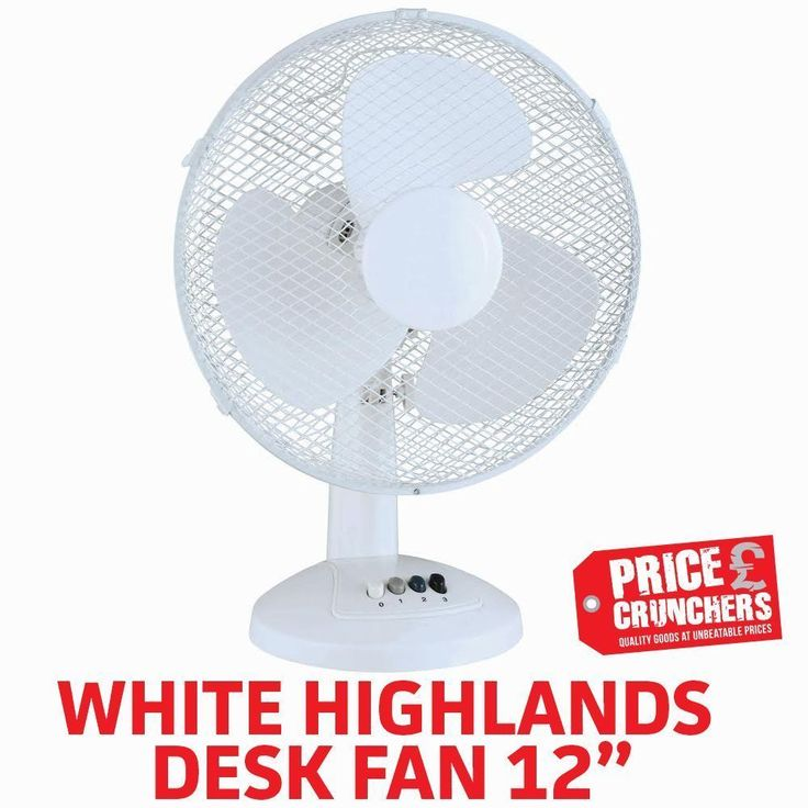 "12"" Desk Table 3 Speed Fan Oscillating Cooling Air Fan White Free Standing Safe #Highlands"
