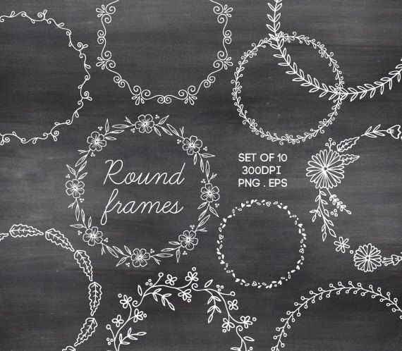 Doodle Round Borders Circle Frames Hand Drawn Chalk Clipart Vector Wreaths by AzmariDigitals