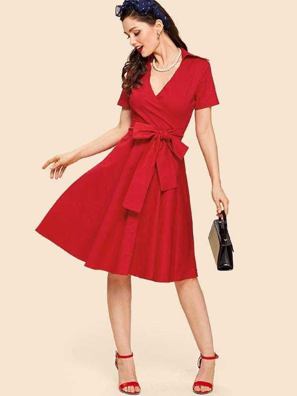2b2c6c314a5 V Neckline Knot Front Wrap Dress -SheIn(Sheinside)