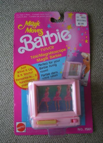 New In Package Vtg Magic Moves Barbie TV VCR Wind Up For Living Room