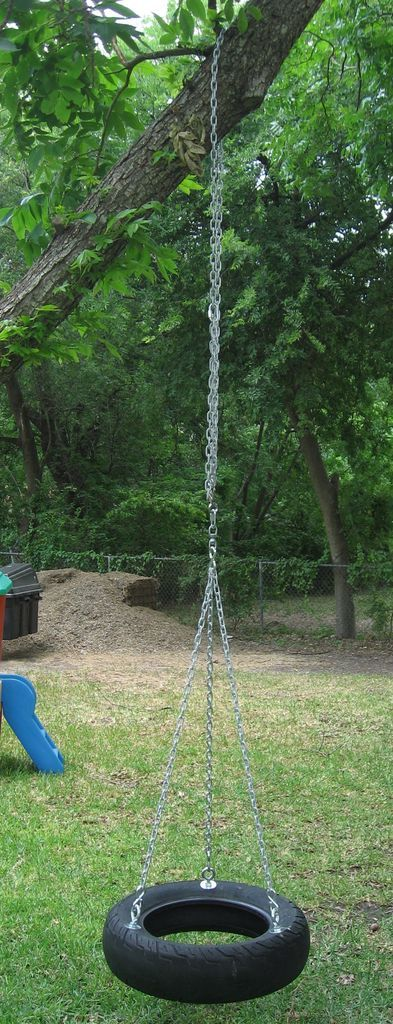 Anyone up for making a tire swing?  I was thinking it would fit in the adventure playground.
