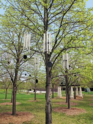 """Pierre Huyghe's Wind Chime (after """"Dream""""), 1997/2009, on view at the Walker Art Center, consists of 47 chimes.  WALKER ART CENTER, MINNEAPOLIS, PURCHASED WITH FUNDS PROVIDED BY THE FREDERICK R. WEISMAN COLLECTION OF ART"""