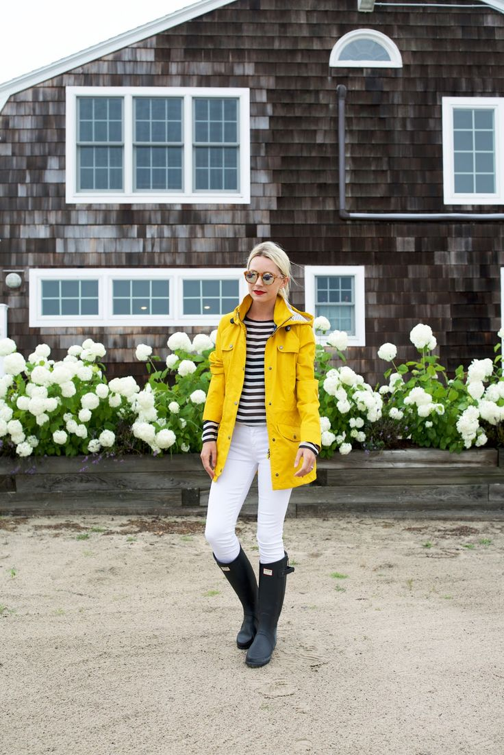 white skinny jeans + navy striped long sleeved shirt + yellow rain coat + navy Hunter wellies