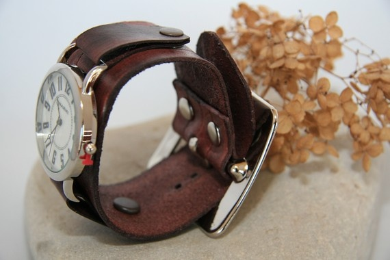 Big and Bold Deep Brown Leather Watch for Men and by CreativeUrges, $62.00