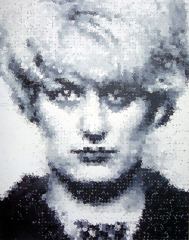MYRA (1995) by Marcus Harvey. Child murderer Myra Hindley painted on canvas by reproduced images of children's hands.
