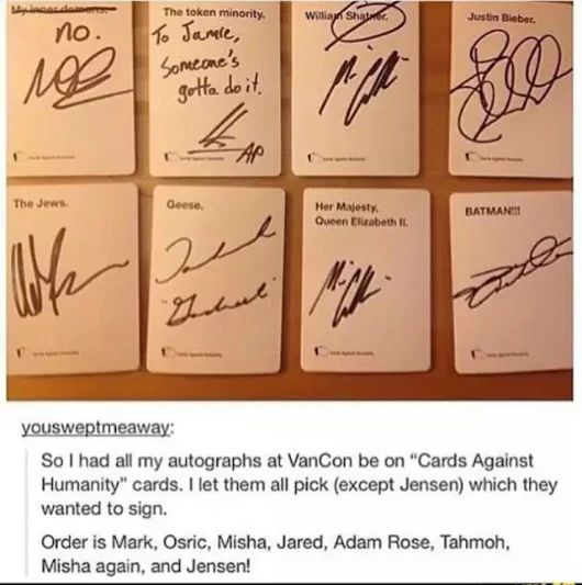 Cards against Humanity vs Supernatural cast