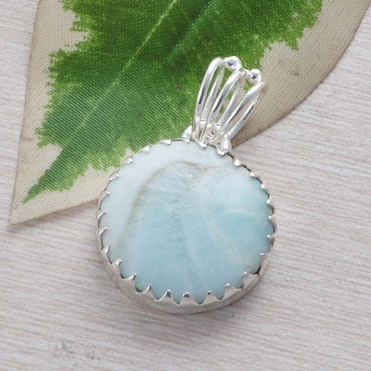 FANCY LARIMAR 925 SOLID STERLING SILVER CAB ANTIQUE PENDANT 4.76g P01435 #Handmade #Pendant