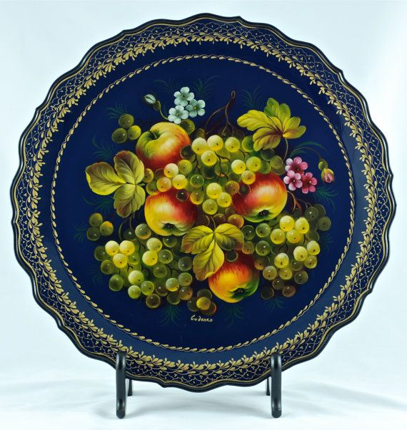 Zhostovo Russian Hand Painted Artist Signed Tole by BirneyCreek