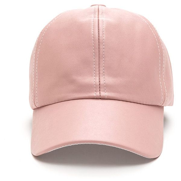 Smooth Talker Faux Leather Cap DUSTYPINK (€11) ❤ liked on Polyvore featuring accessories, hats, pink, pink baseball hat, brimmed hat, baseball caps hats, adjustable cap and baseball cap