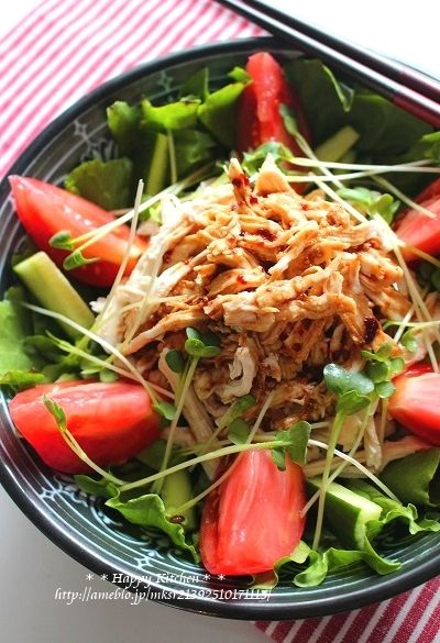 しっとり柔らかむね肉で!韓国風バンバンジーサラダ|たっきーママ ... 韓国風バンバンジーサラダ|たっきーママ オフィシャルブログ「たっきーママ@happy kitchen」Powered by Ameba