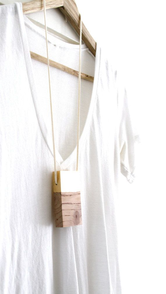 Minimalist Necklace Contemporary Wood Jewelry by totemcolorblocks