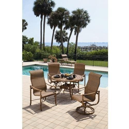 Suncoast Renaissance Sling Patio Cast Aluminum Dining Set by Suncoast. $2624.30. Suncoast Suncoast Renaissance Sling Patio Cast Aluminum Dining Set is part of the Suncoast Renaissance Sling collection and made from cast aluminum material.Quality Platinum BondTM Finish Frames are prepared using exclusive Platinum BondTM finish process consisting of two coatings of polyester powder. This finish will not rust or peel, is three times thicker than paint and more durable. ...