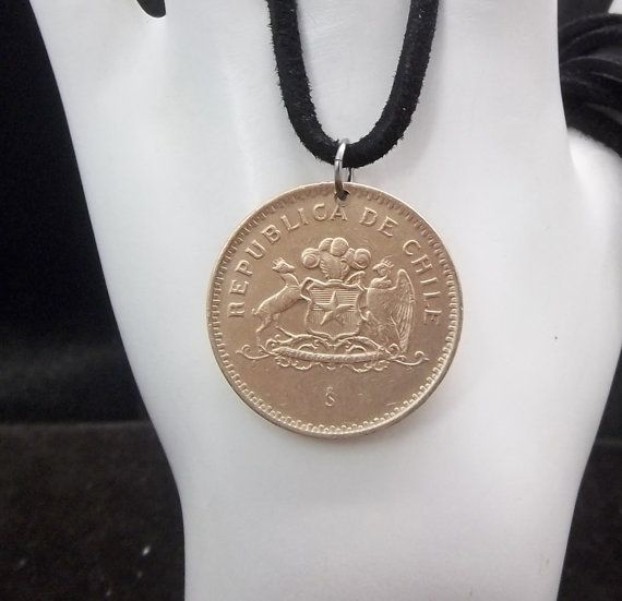 Chile Coin Necklace 100 Pesos Coin Pendant by AutumnWindsJewelry