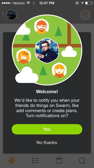 Swarm by Foursquare --- Colourful walkthrough with less daunting setup. No need for those worrying native pop ups.
