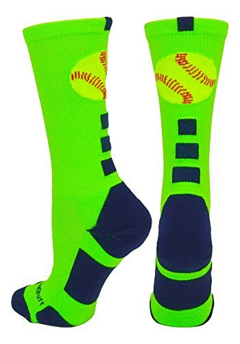 Softball Logo Crew Socks (Neon Green/Navy, Small):   MadSportsStuff Softball Logo Crew Socks. High performance athletic socks for all team sports and elite athletes. Small fits a Youth Shoe Size 2-6. Medium fits a Men's Shoe 6-9 and Women's Shoe Size 7-10. Large fits a Men's 9-12 and Women's 10-13. X-Large fits a Men's 12-15 and Women's 13-16.