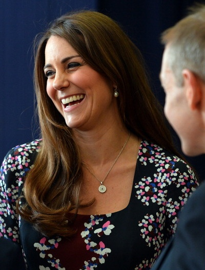 Duchess Catherine,  Kate Middleton style.  Smiling / laughing.
