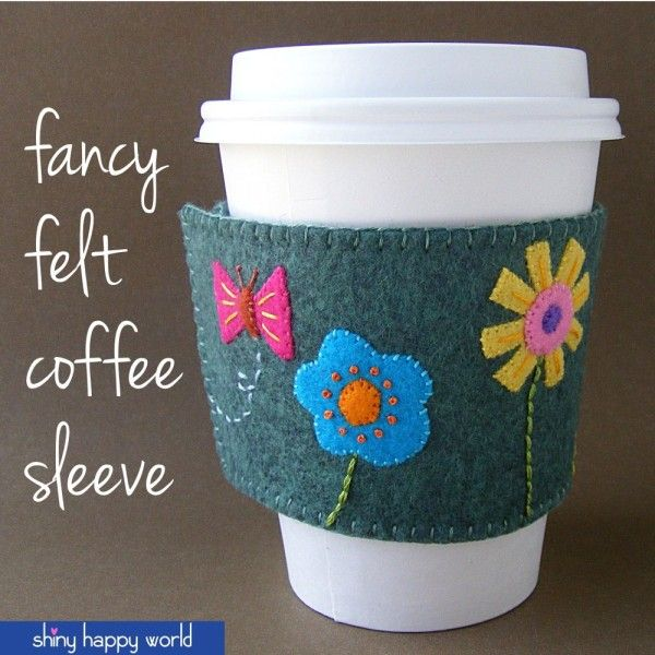 Fancy Felt Coffee Sleeve - a free pattern from Shiny Happy World #free_coffee #coffee_sleeve
