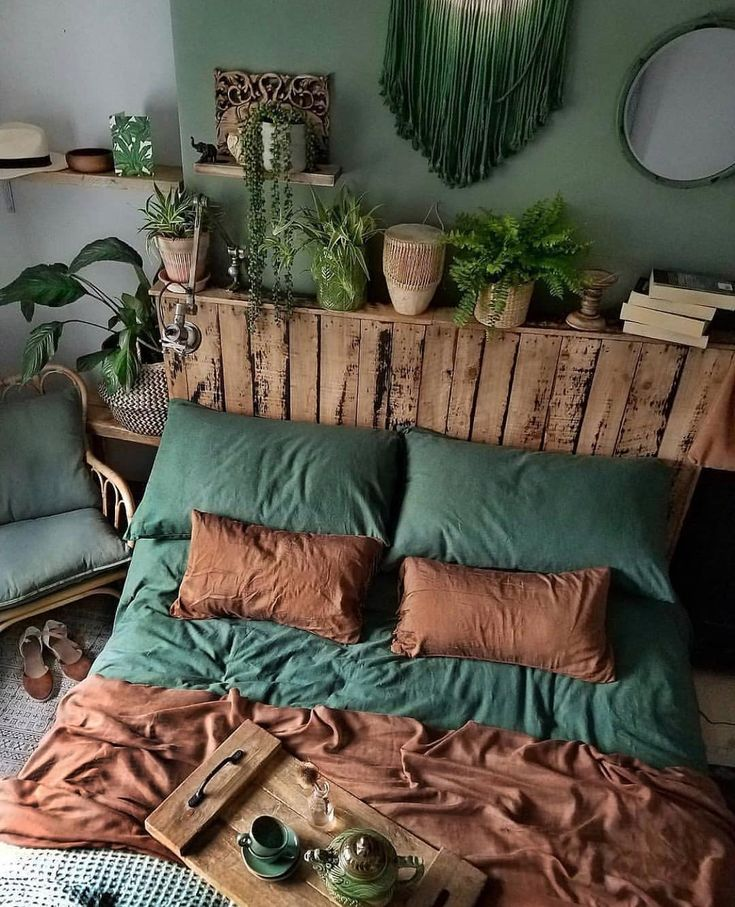 I Never Thought I Would Love A Dark Green And Brown Theme For A Small Space Part Brown Dark Green Love Part Bedroom Decor Home Bedroom Bedroom Design