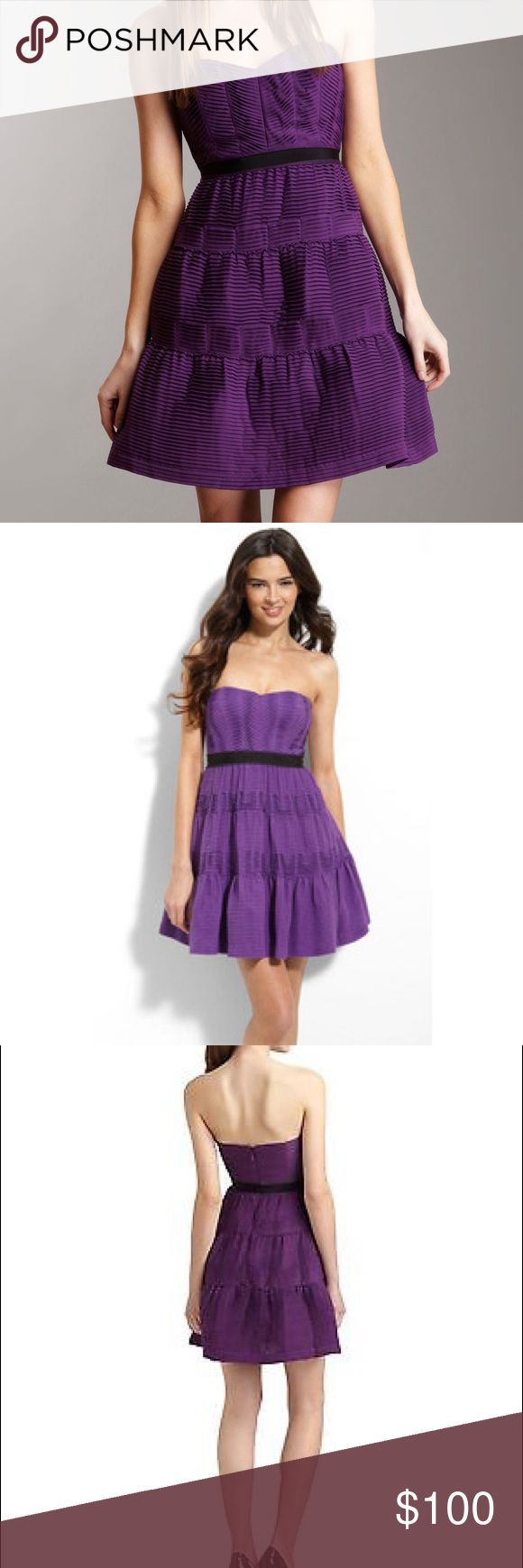 BCBGMAXAZRIA Strapless Pleated Chiffon Dress Pleated chiffon strapless dress with sweetheart bodice & contrasting waistline.   A layer of tulle under the hems lends volume through the skirt  Concealed back zip closure, black gross-grain ribbons at waist.   Style#IEC6J926-514, color: grape.          Condition: excellent like-new. BCBGMaxAzria Dresses Strapless