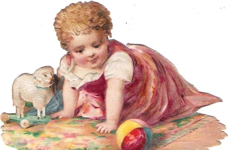 Oblaten Glanzbild scrap die cut chromo Kind child enfant Schaf sheep ball