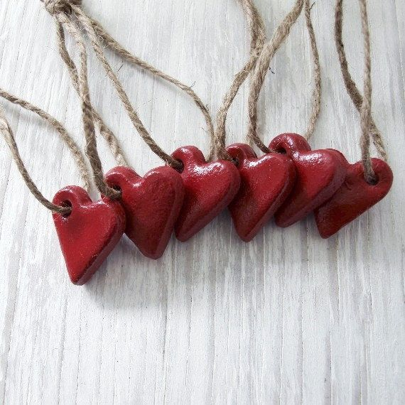 Red Heart Ornaments Set Rustic Red Hearts  Guest Favors by etco