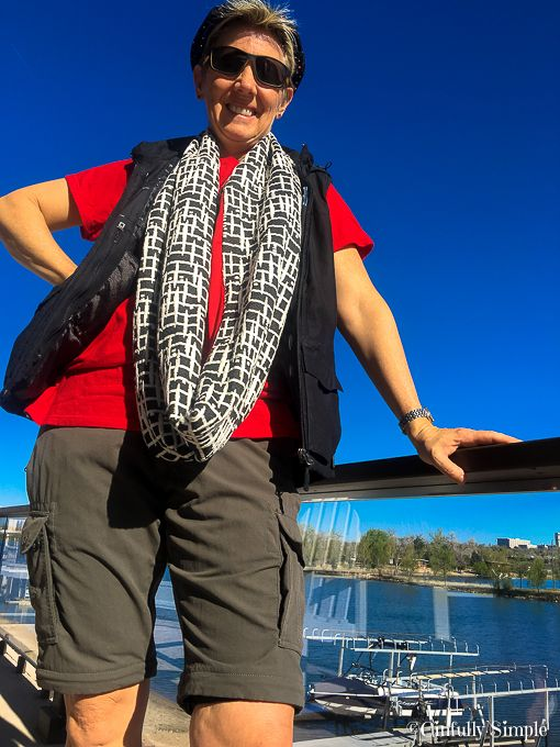 Dr DP Wearing Pick Pocket Safe Clothing - pants, vest and scarf! Go to Cinfully Simple for product Links!