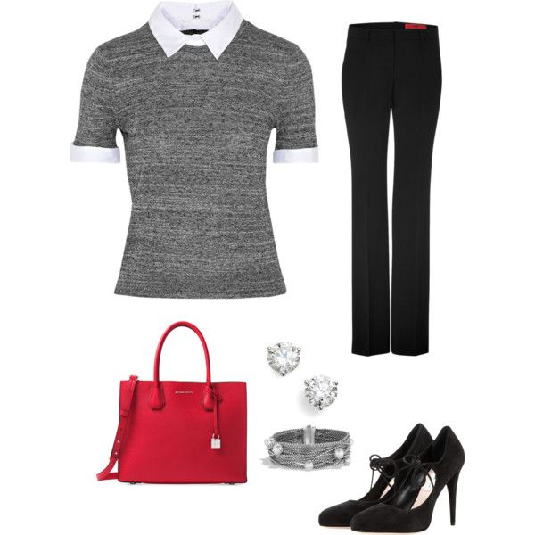Grey sweater - Work by brittjade on Polyvore featuring moda, Alice + Olivia, HUGO, Miu Miu, Michael Kors, Bony Levy and David Yurman