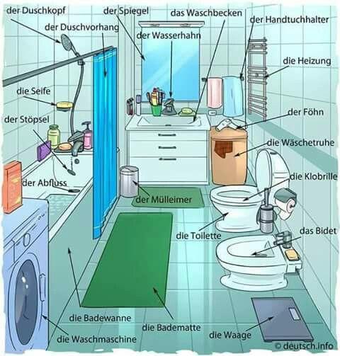 German WC vocab: der Duschkopf, der Spiegel, die Toilette die Heizung  die Wasserhahn...