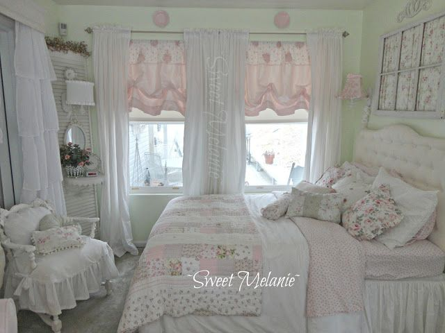 ~Sweet Melanie~ Shabby Chic Style  Inspiration ♥ #shabbychic - palest pink and green bedroom.
