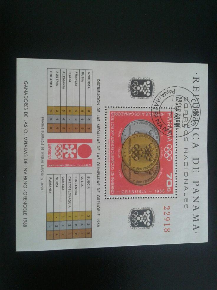 Les  Médailles or,argent et bronze des jeux olympique de Grenoble 1968 avec les gagnants de chaque  pays.