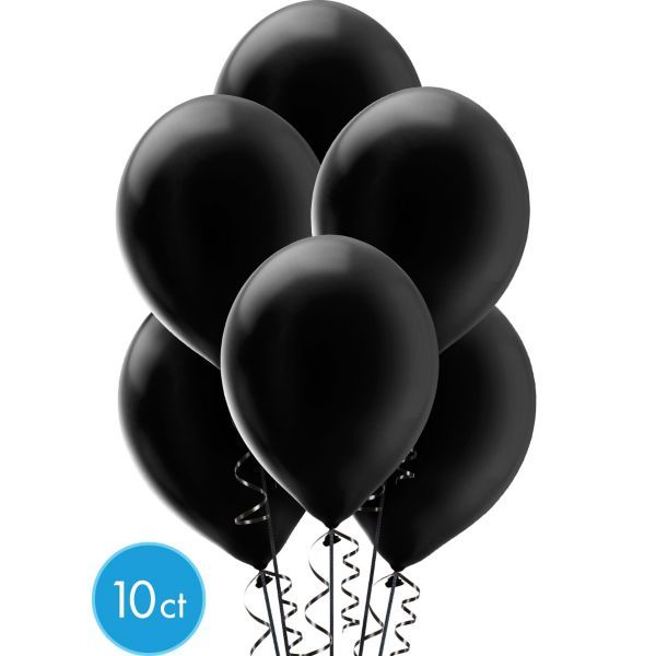 Black Pearl Latex Balloons 12in 10ct Baby Annabelle