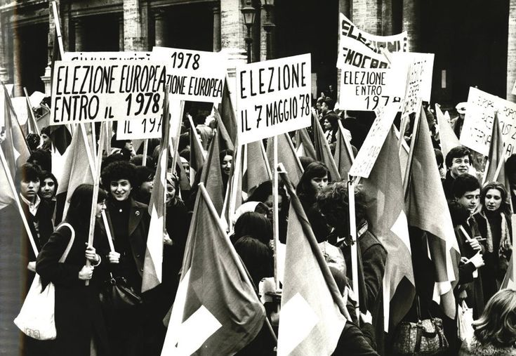 Demonstration during the European Council meeting in Rome calls for direct elections of the European Parliament, 1975. The first election of the Parliament eventually took place in 1979.