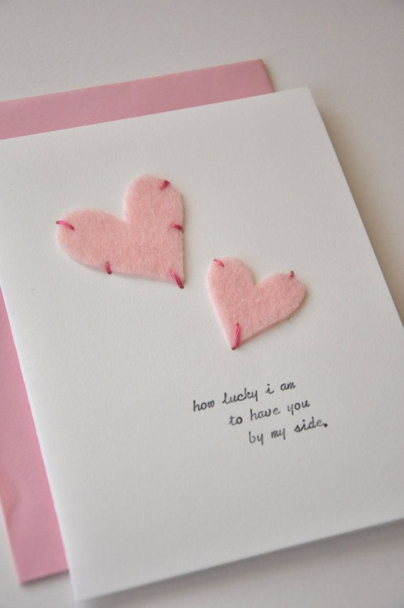 Cute & simple! Great card for Valentines Day or for a Wedding Anniversary! | Heart-Felt Pink Valentine - Handmade Card | by megan jewel @Etsy