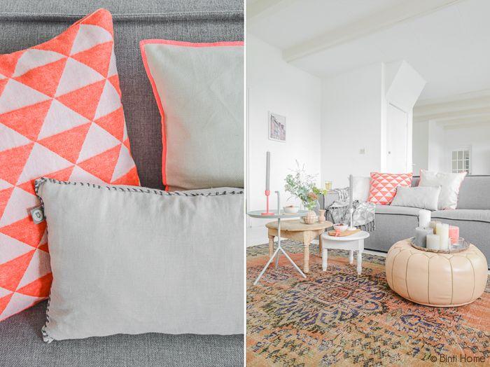 Stylingtip : Een sfeervolle zithoek in de woonkamer door de toevoeging van kleur   Binti Home blog : Interieurinspiratie, woonideeën en stylingtips