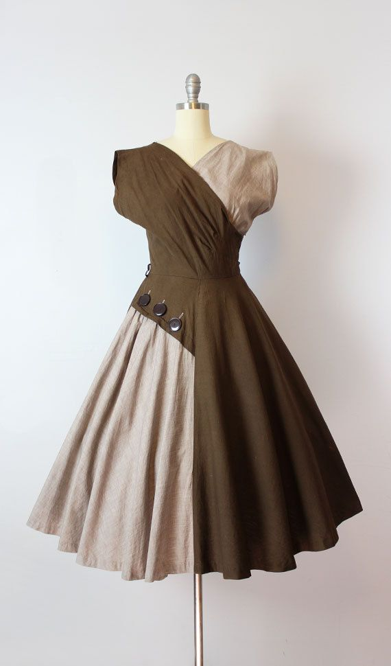 vintage 50s dress / 1950s cotton sundress / two tone brown