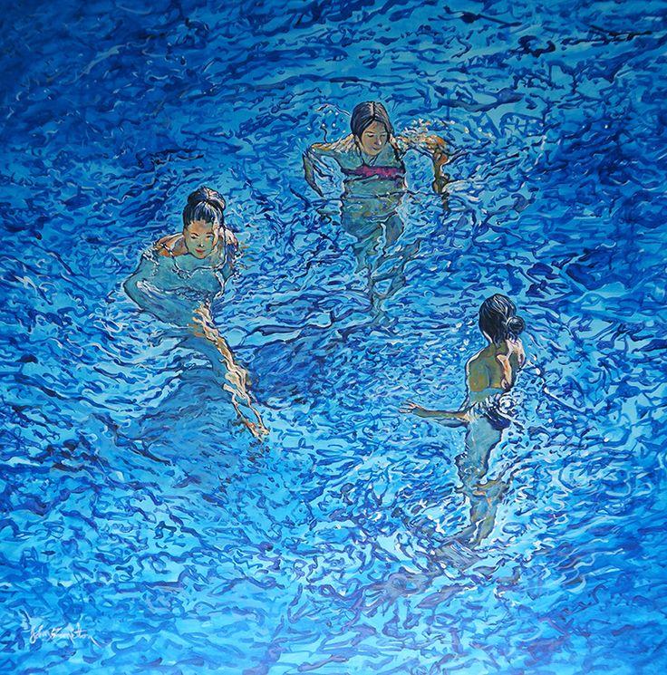 John Hamilton - Summer Friends 90x90cm Acrylic